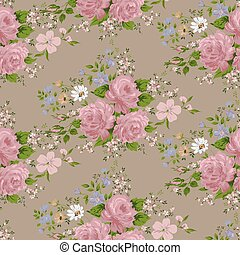 Seamless pattern with pink roses and flowers.