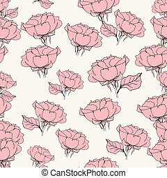 Seamless pattern with pink roses on grey. Vector illustration