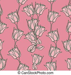 Seamless pattern with pink roses on pink . Vector illustration