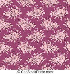 seamless pattern with pink roses, v