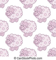 Seamless pattern with pink sheep