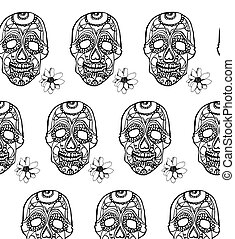 Seamless pattern with pink skulls and black background