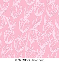 Seamless pattern with pink tulips. Vector background