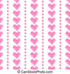 Seamless pattern with pink watercolor hearts on white background