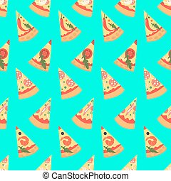 Seamless pattern with pizza margherita slices. Vector illustration