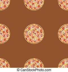 Seamless pattern with pizza salami. Vector flat background texture