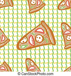 Seamless pattern with pizza