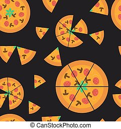 Seamless pattern with pizzas