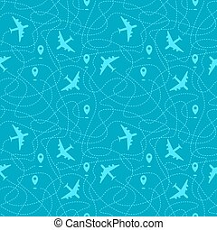 Seamless pattern with plane paths
