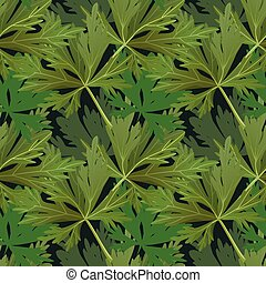 Seamless pattern with plants, forest leaves background