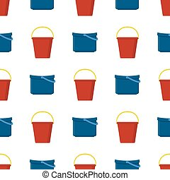 Seamless pattern with plastic red and blue bucket empty or with water on white background. Cartoon style. Vector illustration for design, web, wrapping paper, fabric, wallpaper.