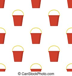 Seamless pattern with plastic red bucket empty or with water on white background. Cartoon style. Vector illustration for design, web, wrapping paper, fabric, wallpaper.