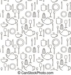 Seamless pattern with plates, knives, spoons, wineglasses, mugs, cups and salt pots.