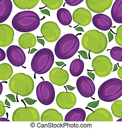 Seamless  pattern with plum and apple .
