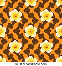 Seamless pattern with Plumeria flowers on Abstract Geometric Background
