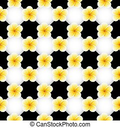 Seamless pattern with Plumeria Frangipani flowers on black and white chessboard