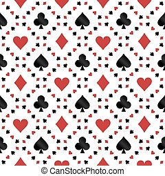 Seamless pattern with poker cards symbols