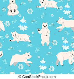 Seamless pattern with polar bears. Vector graphics.