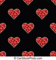 Seamless pattern with polygonal red heart