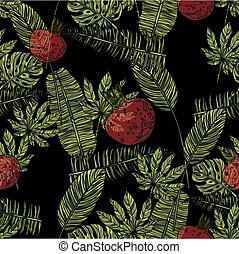 Seamless pattern with pomegranate and tropical leaves.
