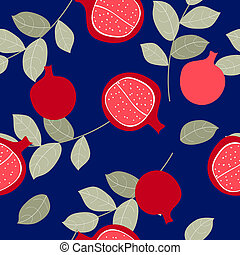 Seamless pattern with pomegranate fruits background. Illustration
