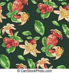 Seamless pattern with pomegranate fruits, buds and flowers in vector