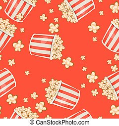 seamless pattern with popcorn on a red background