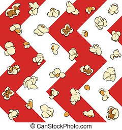 Seamless pattern with popcorn on a white and red background. Color background.