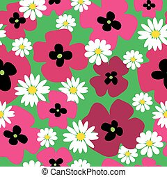 Seamless pattern with poppies and daisies on a green background