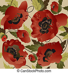 Seamless pattern with poppies
