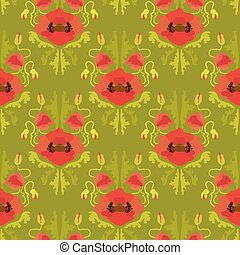 Seamless pattern with poppies on green background.