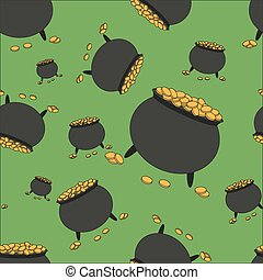 Seamless pattern with pot full of gold
