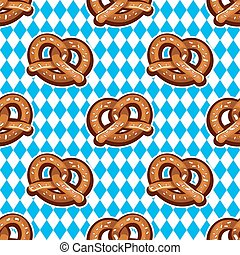 Seamless pattern with pretzels for Oktoberfest on Bavarian flag background.