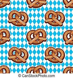 Seamless pattern with pretzels for Oktoberfest on Bavarian flag background.