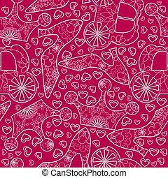 seamless pattern with princess atributes