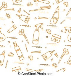 Seamless pattern with professional hairdresser tools....