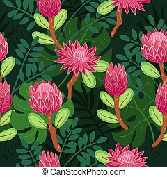 Seamless pattern with protea in doodle style. Vector graphics