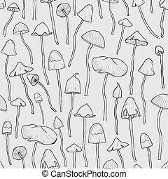 Seamless pattern with Psilocybin or hallucinogenic magic...