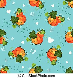 Seamless pattern with pumpkin and decorative hearts