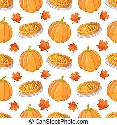 Seamless pattern with pumpkin