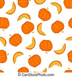 Seamless pattern with pumpkins isolated on white background.