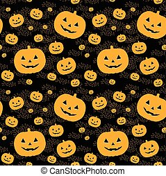 Seamless pattern with pumpkins on background.
