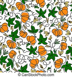 Seamless pattern with pumpkins on white background