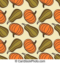 Seamless pattern with pumpkins Vector illustration