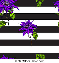 Seamless pattern with purple flowers, leaves and stems on black and white background.  illustration.
