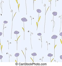 Seamless pattern with purple flower