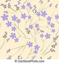 Seamless pattern with purple spring flowers. It can be used as wallpaper. Vector