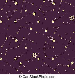 seamless pattern with purple starry sky, comets, constellations