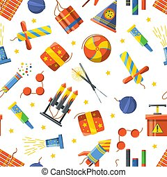 Seamless pattern with pyrotechnic tools, Vector pattern...
