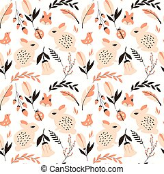 Seamless pattern with rabbits, lady